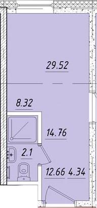 Студия 14 м<sup>2</sup> на 3 этаже