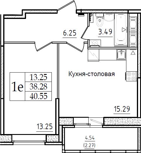 2-комнатная 42 м<sup>2</sup> на 7 этаже