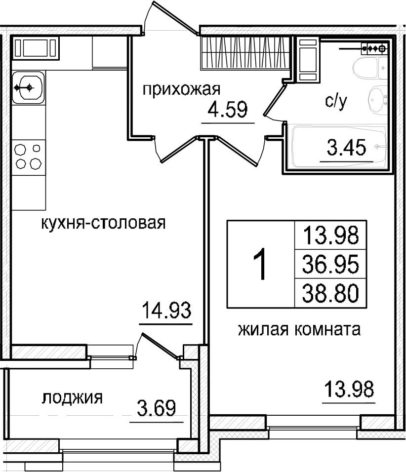 2-комнатная 40 м<sup>2</sup> на 8 этаже
