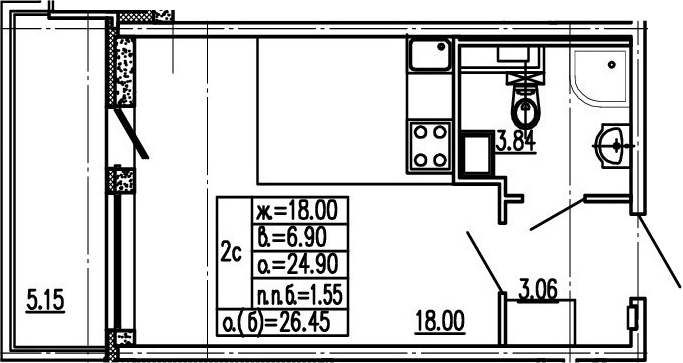 Студия, 30.05 м²