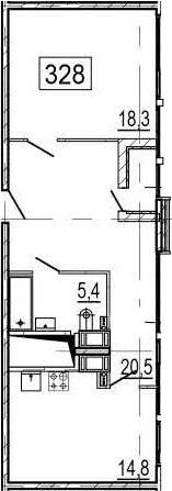 1-комнатная 60 м<sup>2</sup> на 11 этаже