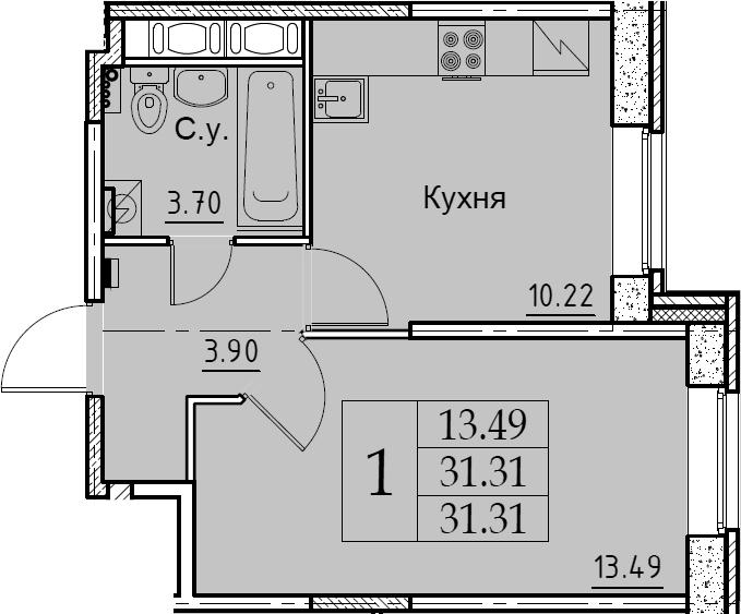 1-комнатная 31 м<sup>2</sup> на 1 этаже