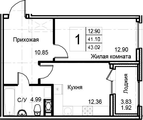 1-комнатная 44 м<sup>2</sup> на 7 этаже
