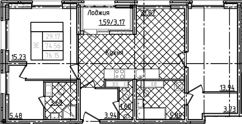 3-комнатная 77 м<sup>2</sup> на 22 этаже