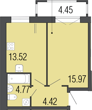 1-к.кв, 43.13 м²