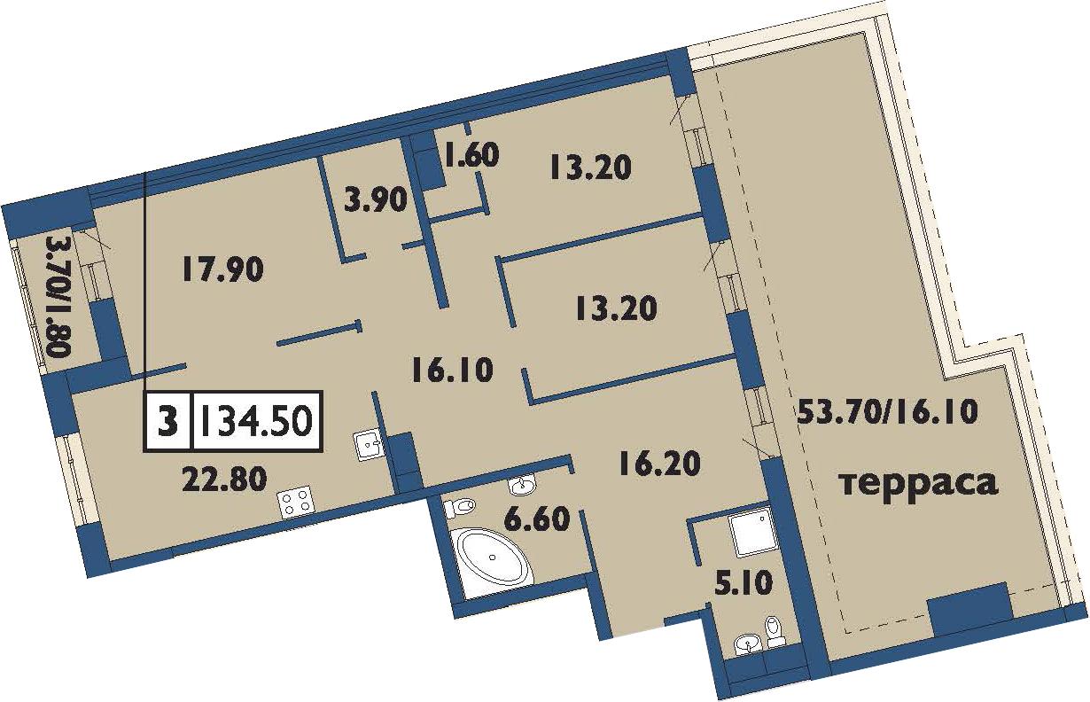 4-комнатная 173 м<sup>2</sup> на 11 этаже