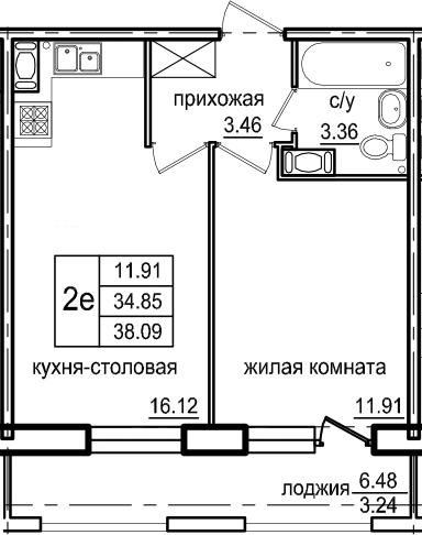 2-комнатная 41 м<sup>2</sup> на 9 этаже