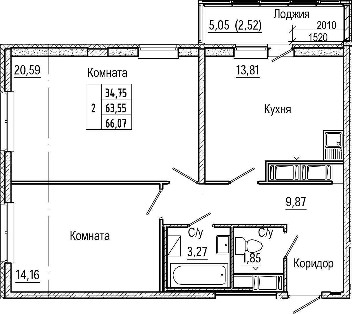 2-комнатная 68 м<sup>2</sup> на 24 этаже