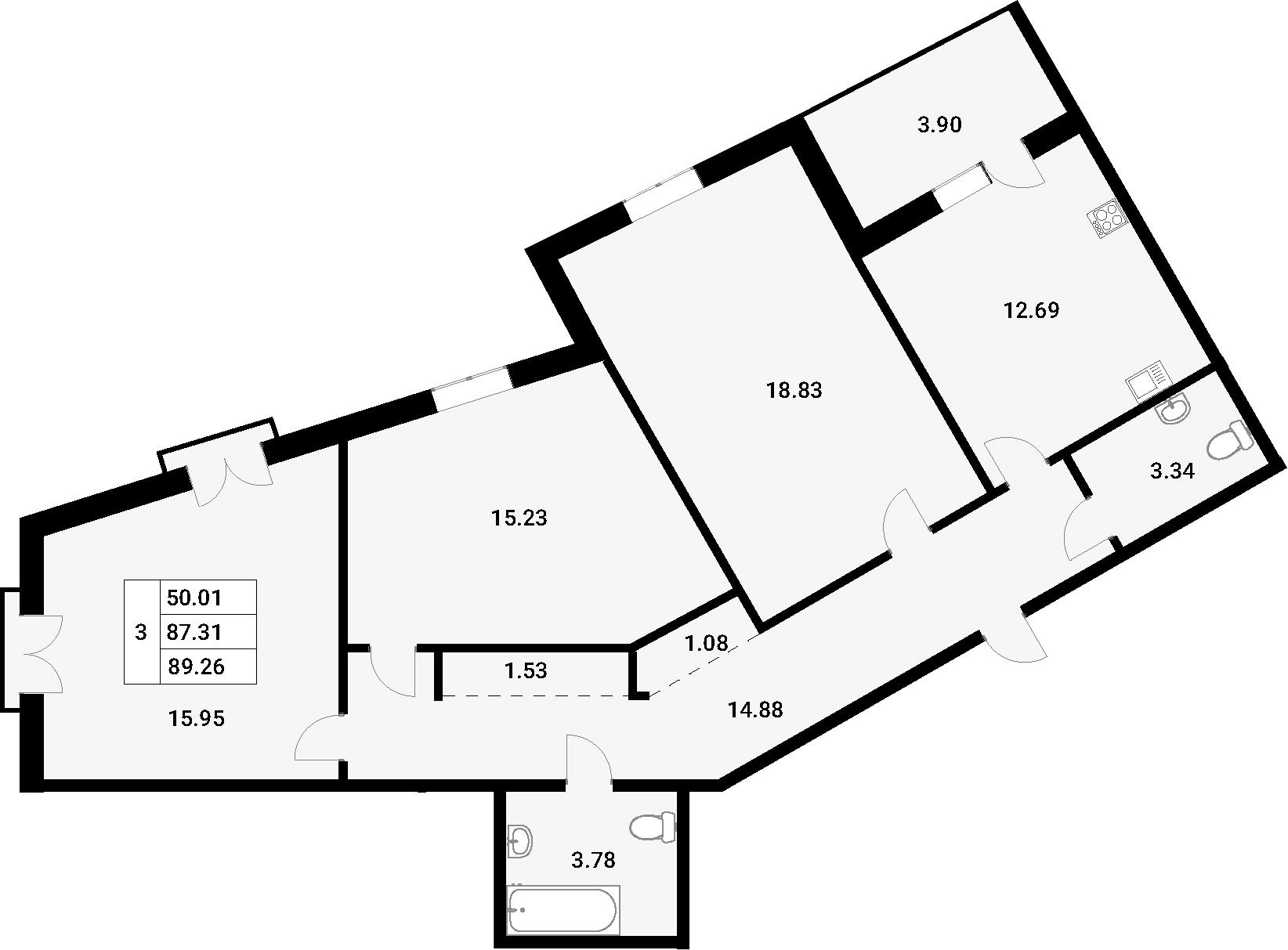 3-комнатная 91 м<sup>2</sup> на 2 этаже