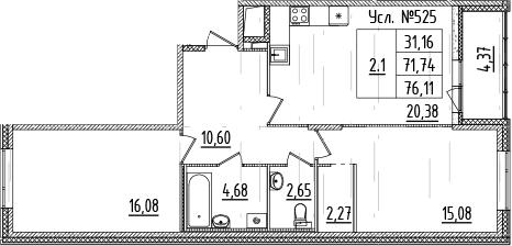 3-комнатная 76 м<sup>2</sup> на 2 этаже