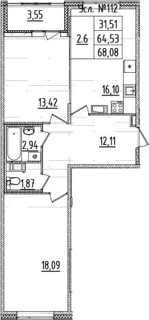 3-комнатная 67 м<sup>2</sup> на 7 этаже