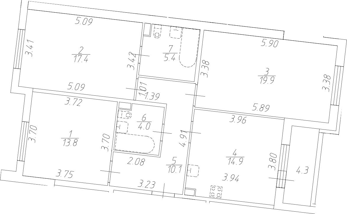 3-комнатная 89 м<sup>2</sup> на 1 этаже