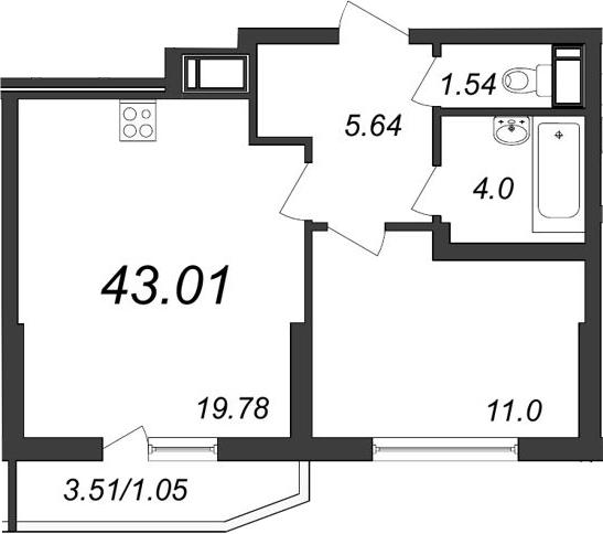 2-к.кв (евро), 45.46 м²