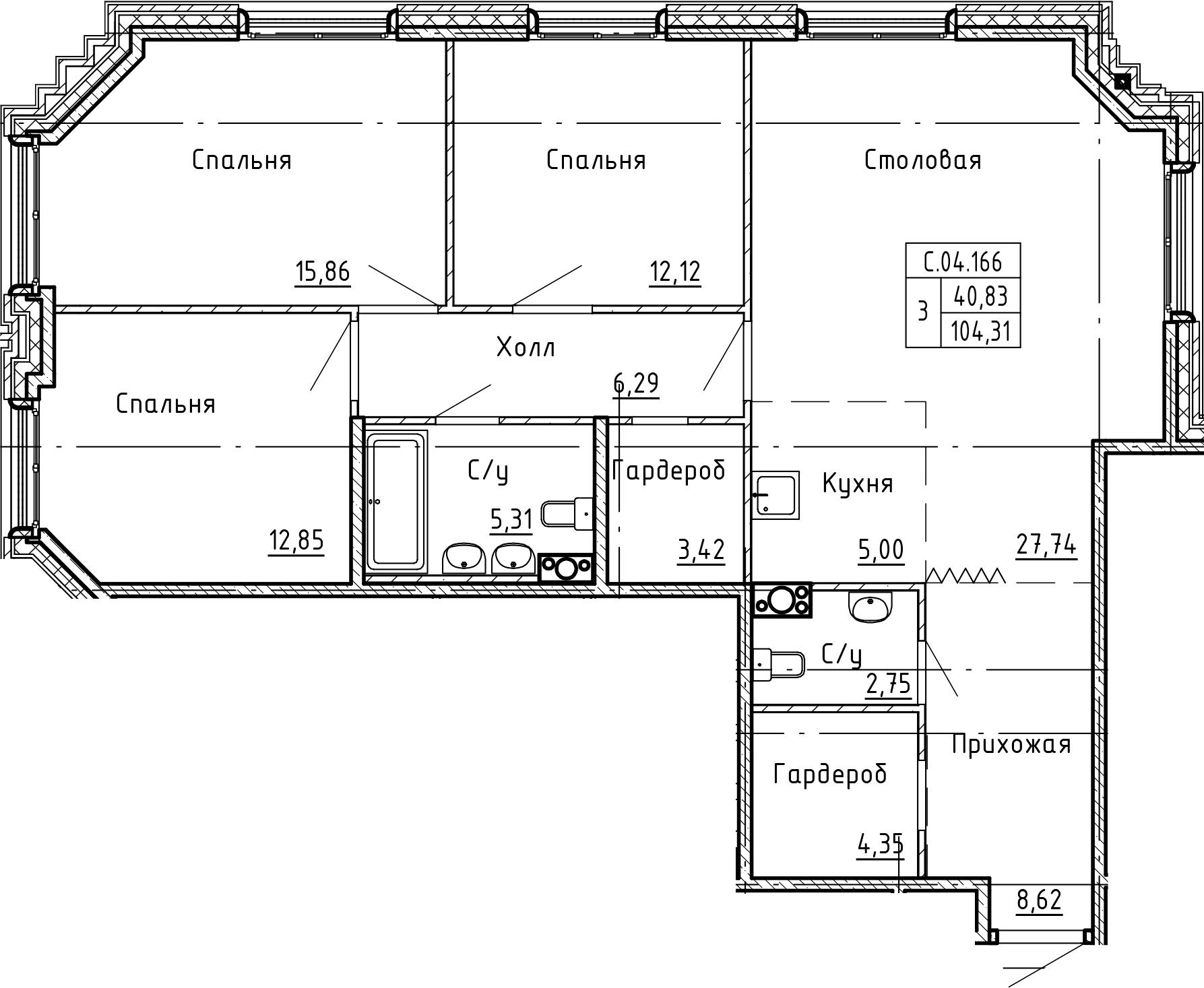 4-комнатная 104 м<sup>2</sup> на 4 этаже