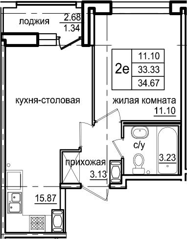 2-комнатная 36 м<sup>2</sup> на 10 этаже