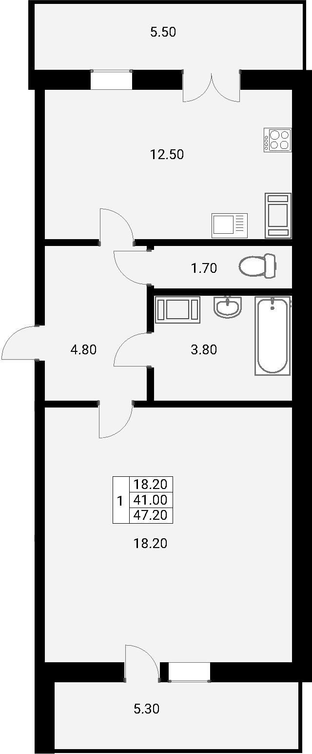 1-комнатная 53 м<sup>2</sup> на 5 этаже
