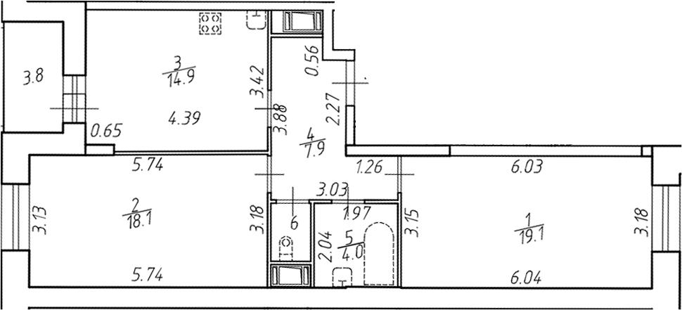 2-комнатная 69 м<sup>2</sup> на 15 этаже