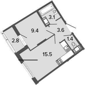 2-комнатная 35 м<sup>2</sup> на 11 этаже