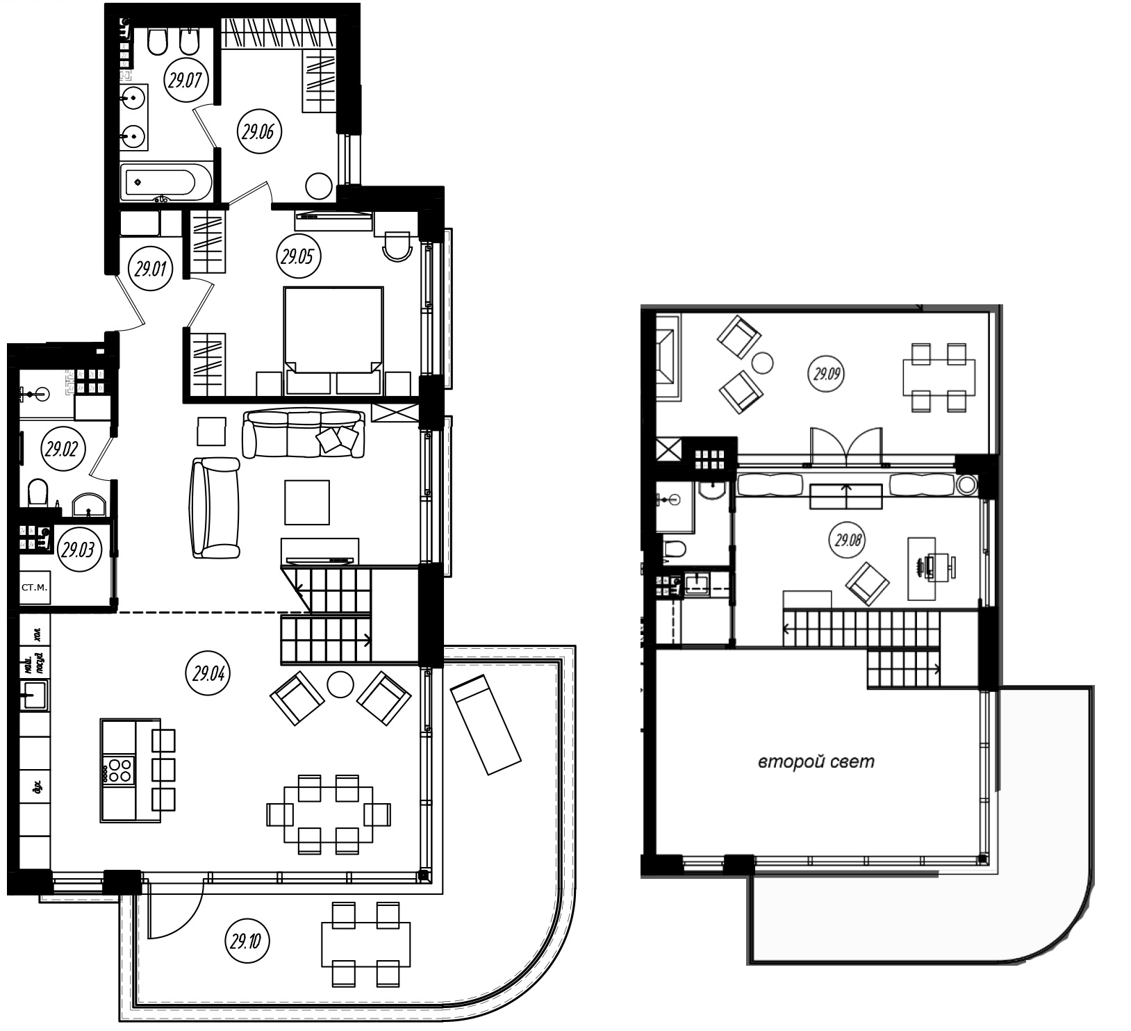 2-комнатная 148 м<sup>2</sup> на 4 этаже
