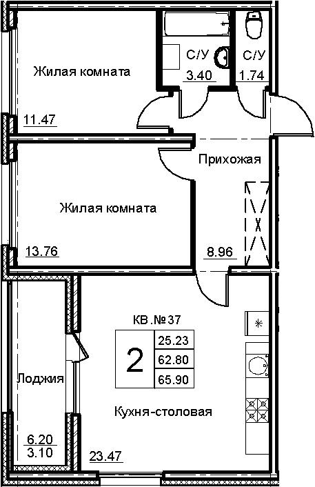 3-комнатная 69 м<sup>2</sup> на 4 этаже