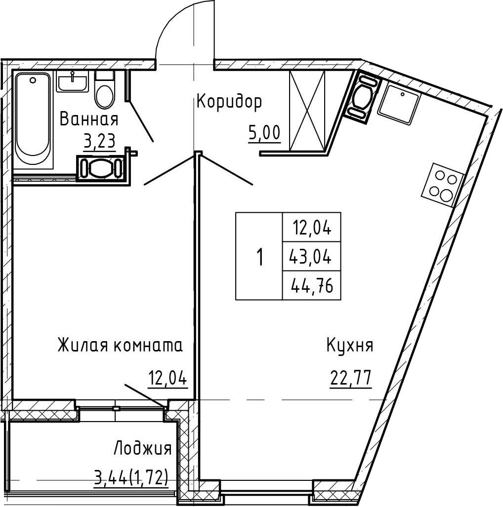 2-комнатная 46 м<sup>2</sup> на 4 этаже