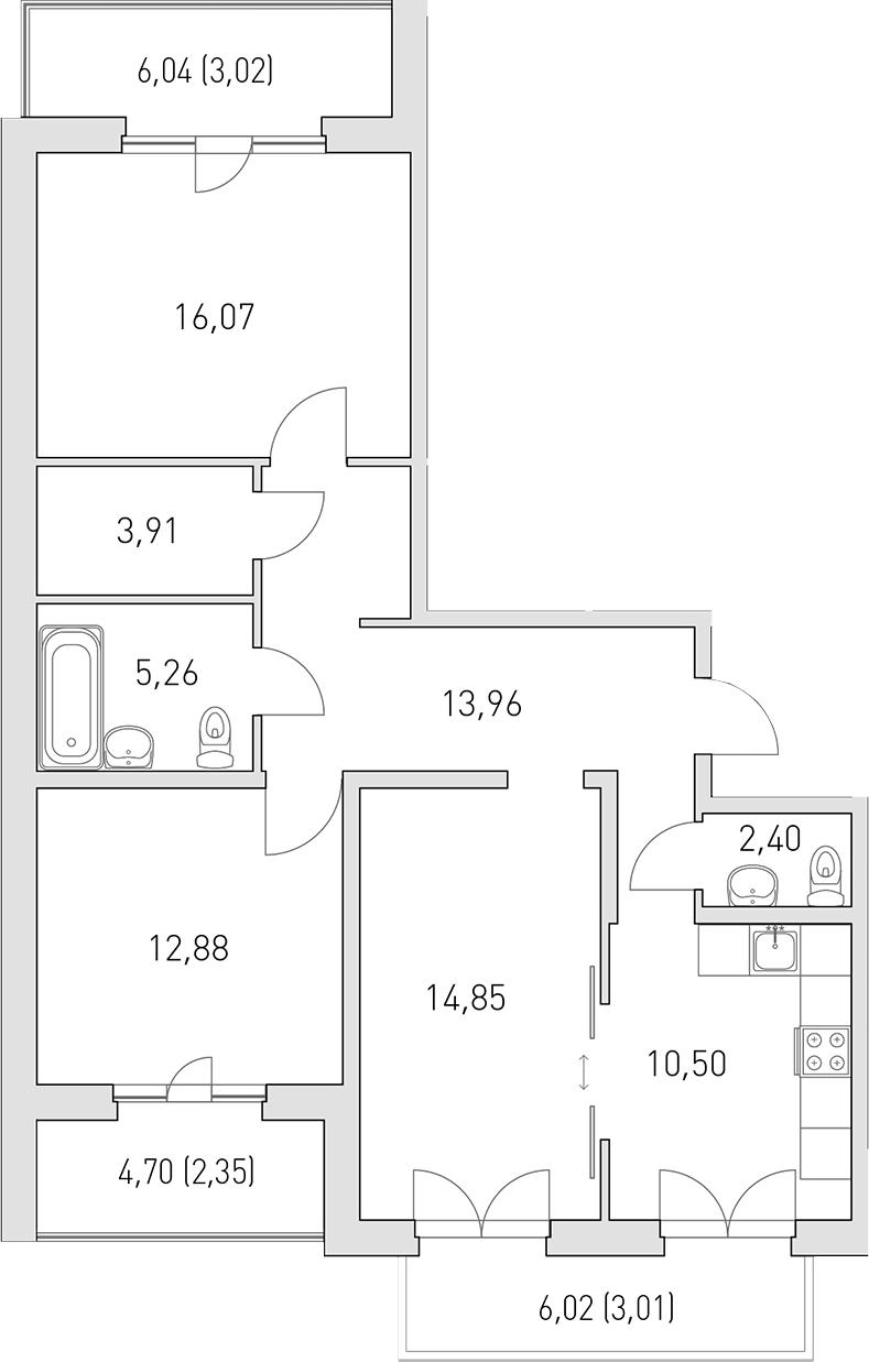 3-комнатная 96 м<sup>2</sup> на 4 этаже