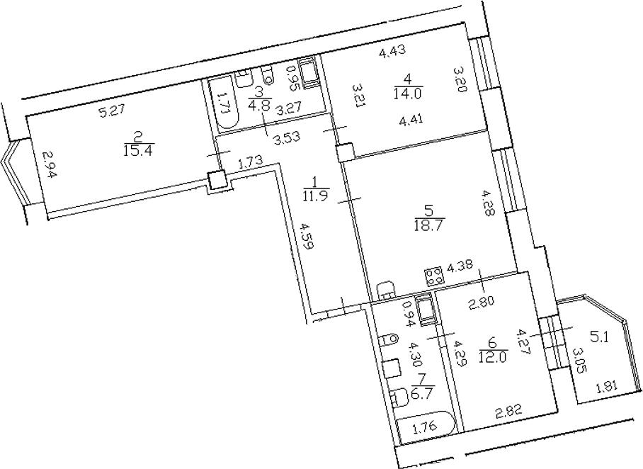 4-комнатная 88 м<sup>2</sup> на 8 этаже