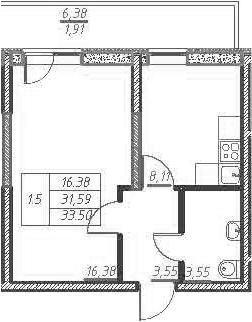 1-к.кв, 37.96 м²