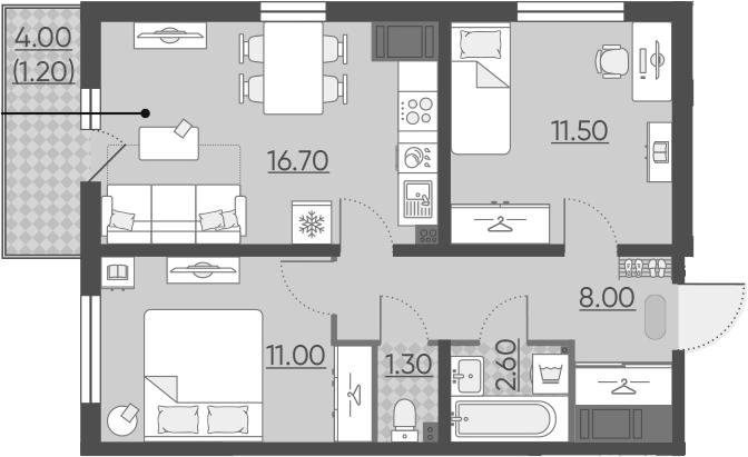 3-комнатная 55 м<sup>2</sup> на 2 этаже