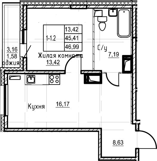 2-комнатная 48 м<sup>2</sup> на 22 этаже