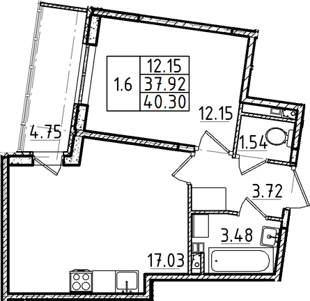 2-комнатная 42 м<sup>2</sup> на 2 этаже