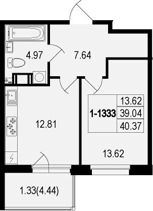 1-комнатная 43 м<sup>2</sup> на 3 этаже
