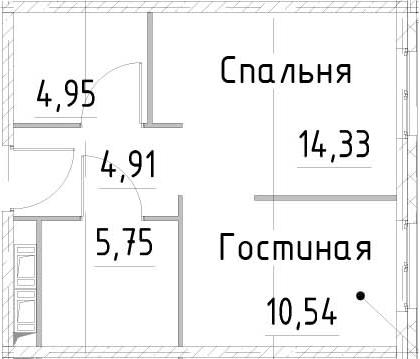 2-к.кв, 40.48 м²