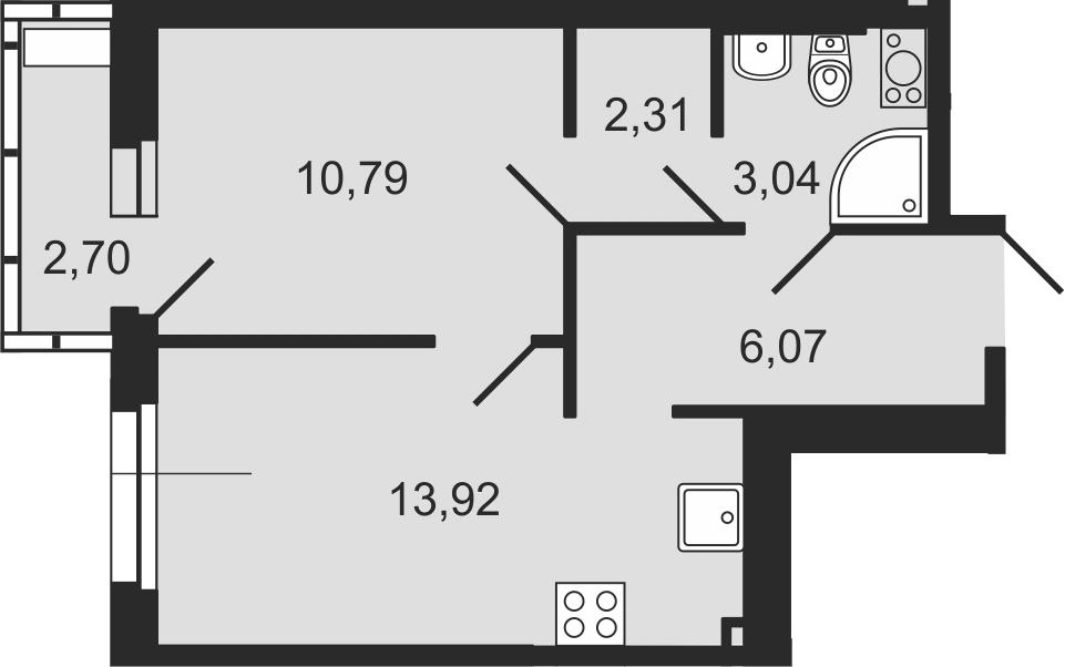 1-комнатная 38 м<sup>2</sup> на 9 этаже