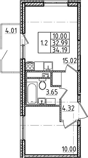2-комнатная 37 м<sup>2</sup> на 1 этаже