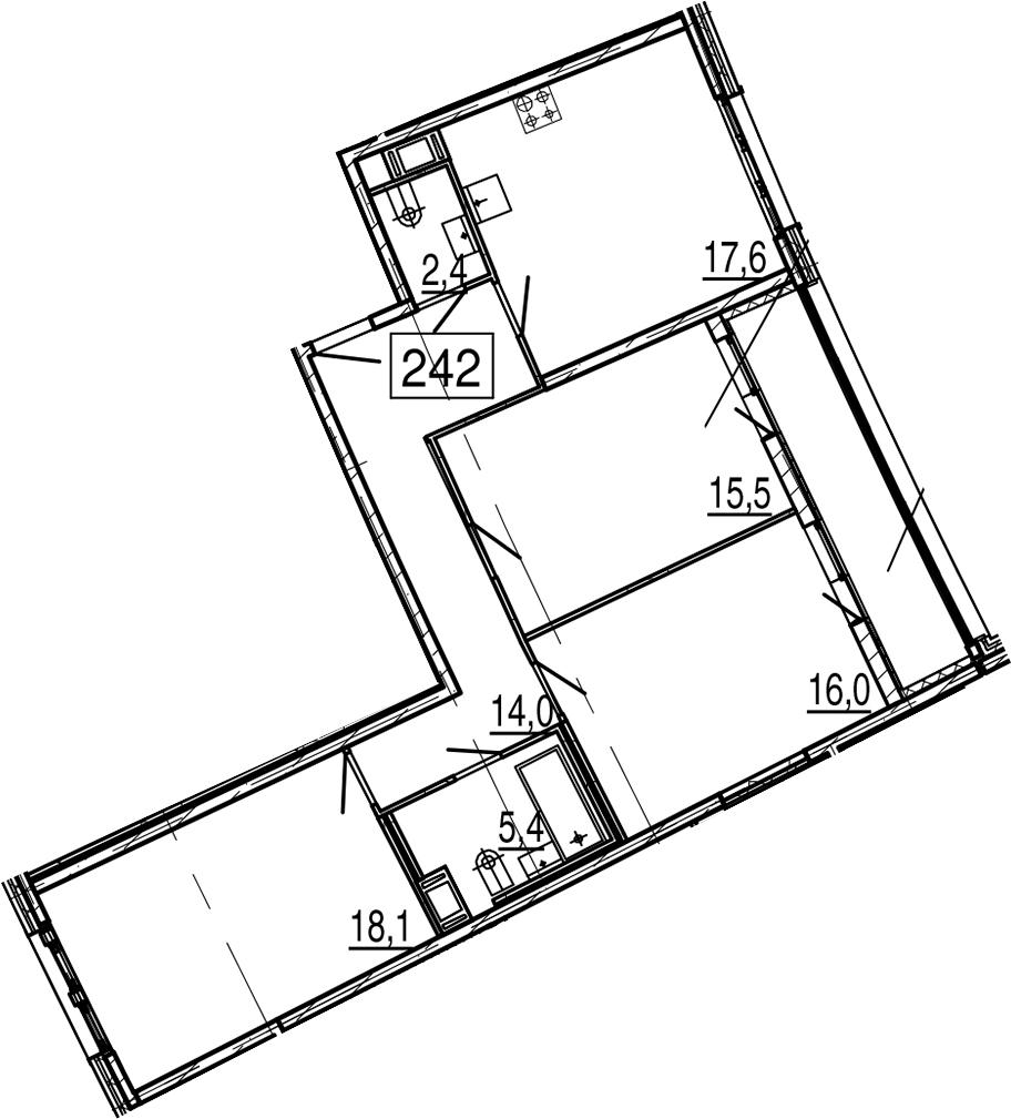 4-комнатная 96 м<sup>2</sup> на 11 этаже