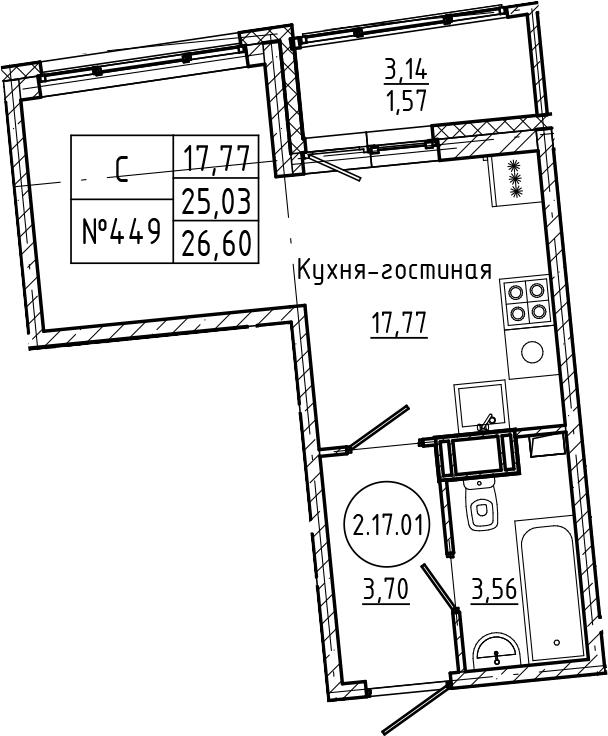 Студия 28 м<sup>2</sup> на 17 этаже
