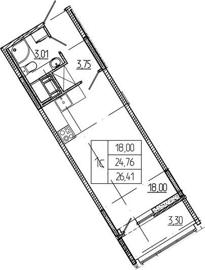 Студия 28 м<sup>2</sup> на 9 этаже