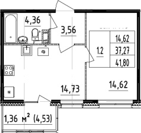 2-комнатная 41 м<sup>2</sup> на 3 этаже