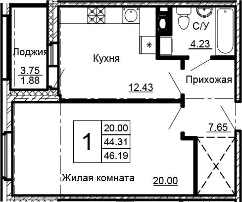 1-комнатная 48 м<sup>2</sup> на 8 этаже