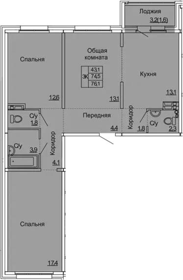 3-комнатная 77 м<sup>2</sup> на 2 этаже