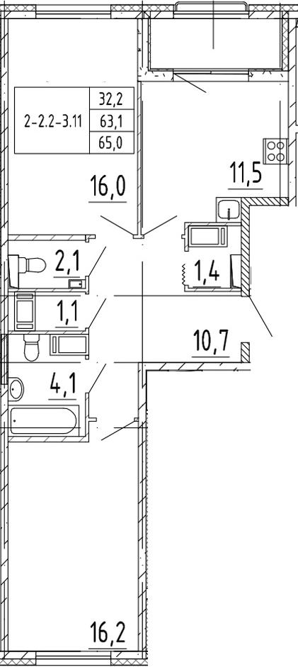 2-комнатная 66 м<sup>2</sup> на 3 этаже