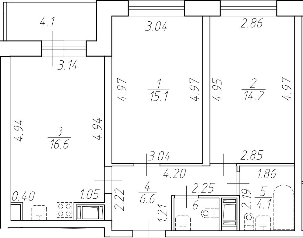 3-комнатная 62 м<sup>2</sup> на 16 этаже