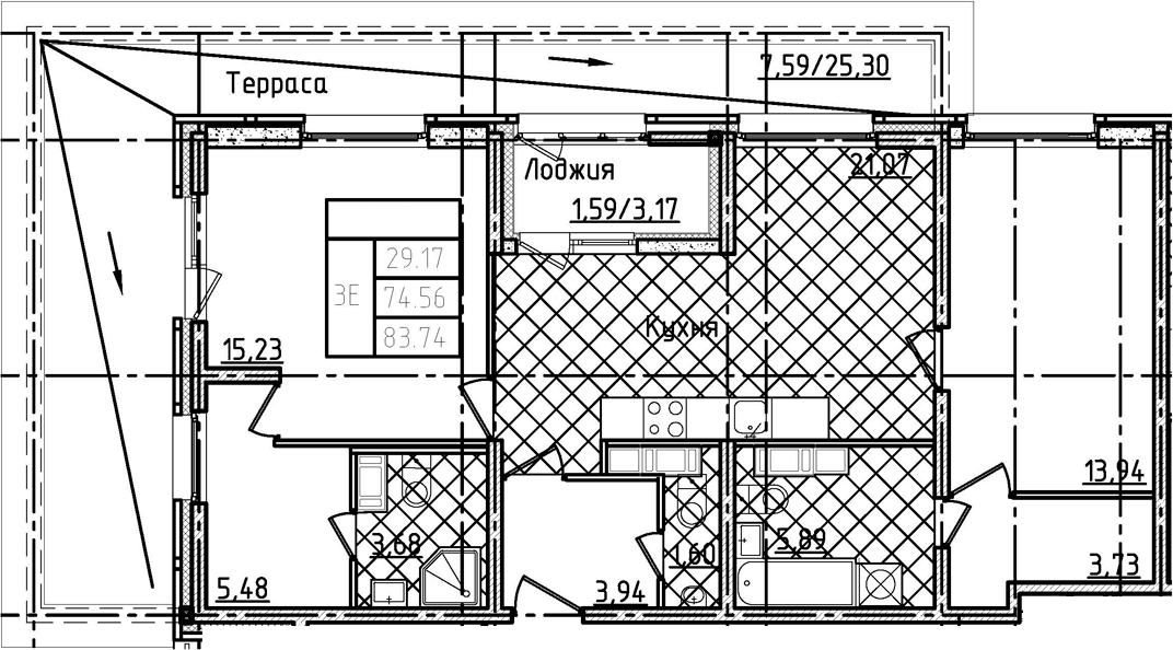 3-комнатная 103 м<sup>2</sup> на 21 этаже