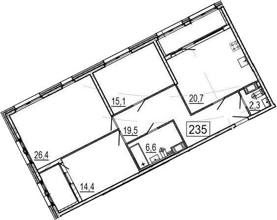 4-комнатная 115 м<sup>2</sup> на 4 этаже