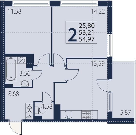 2-комнатная 59 м<sup>2</sup> на 9 этаже