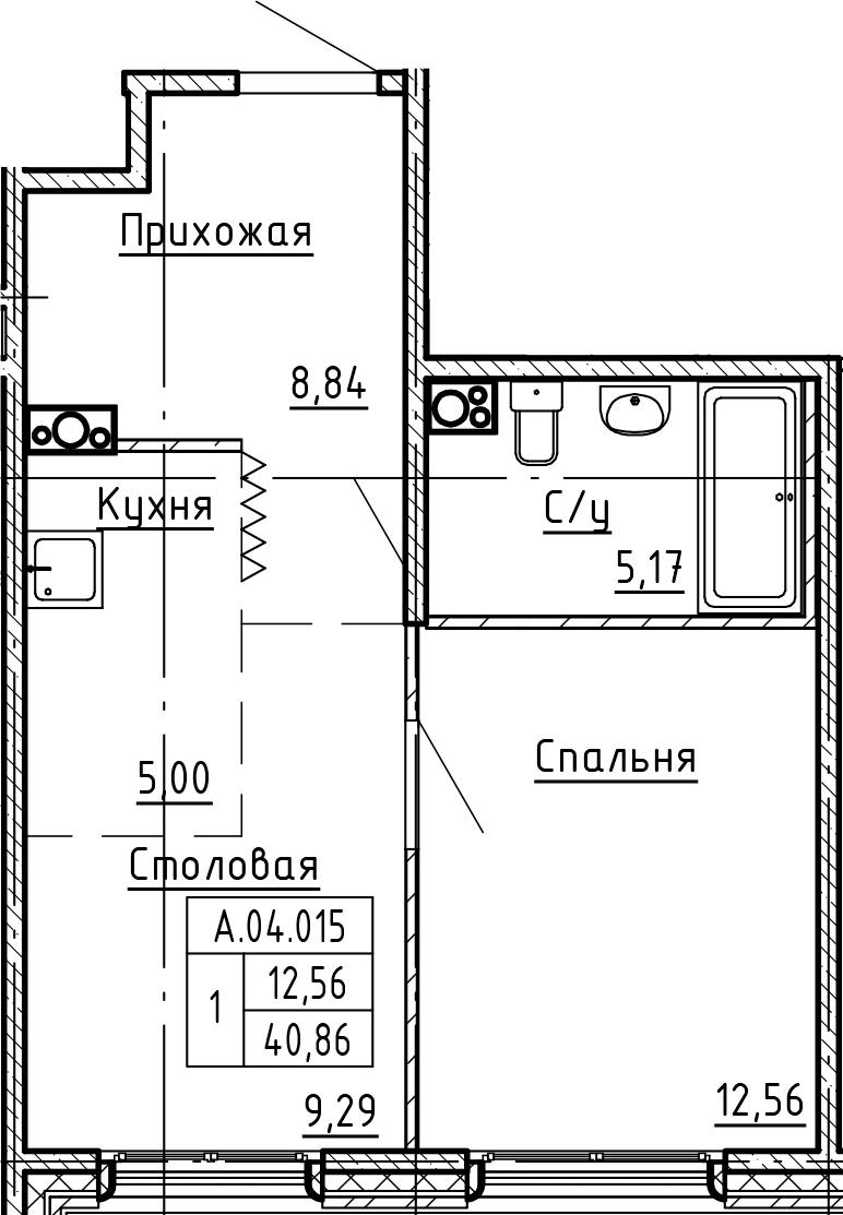 1-комнатная 40 м<sup>2</sup> на 4 этаже