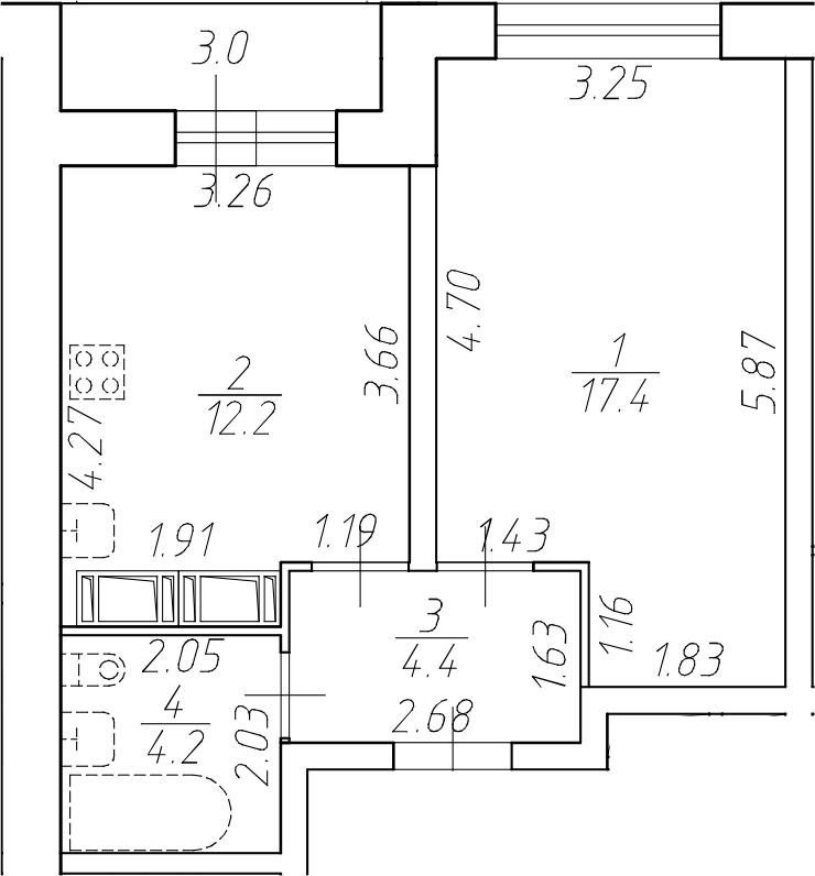 1-комнатная 41 м<sup>2</sup> на 13 этаже