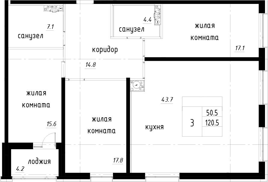 4-комнатная 124 м<sup>2</sup> на 12 этаже