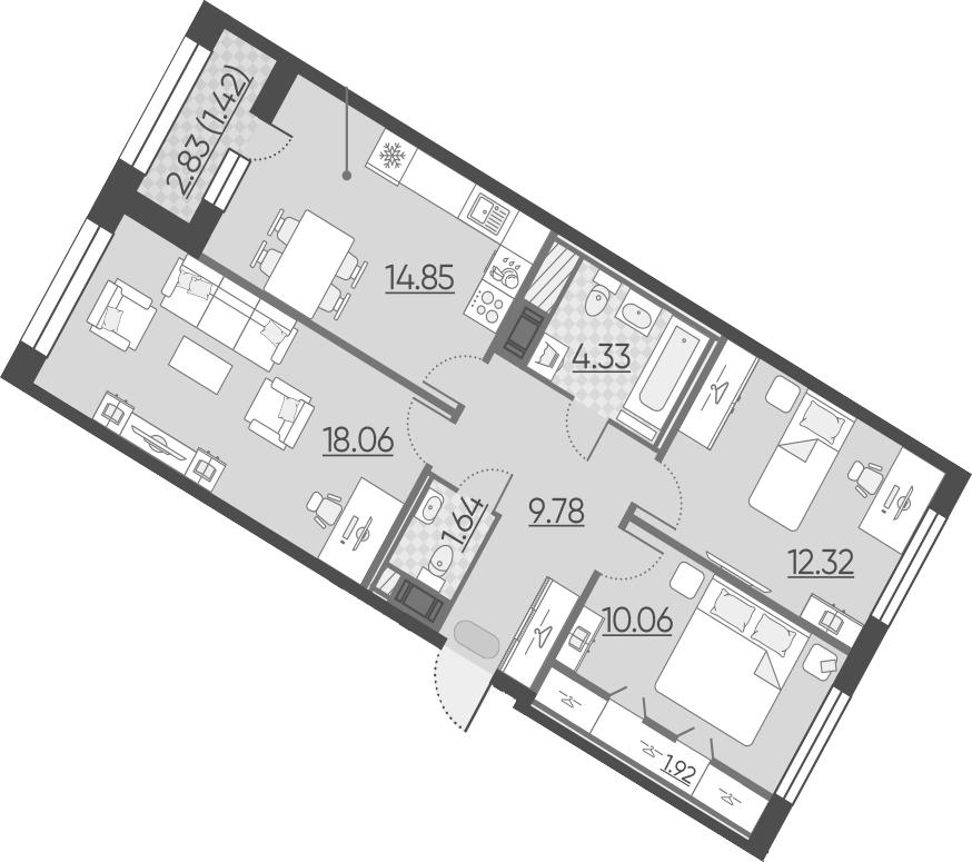 3-комнатная 75 м<sup>2</sup> на 9 этаже